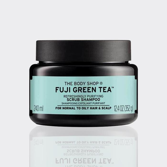 اسکراب کف سر چای سبز فوجی بادی شاپ مدل Fuji Green Tea Scrub Shampoo